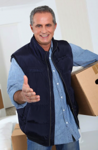 professional mover with box