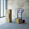 moving boxes and cart