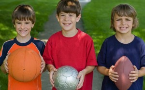 3 boys with sports