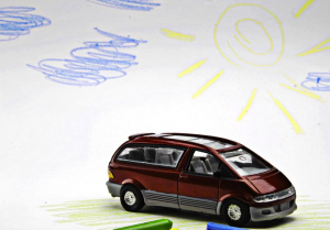minivan with drawings