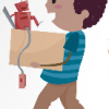 young boy carrying a box