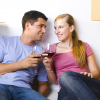 young couple drinking wine 2