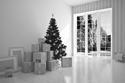 moving boxes and christmas tree