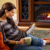 Lady near fireplace